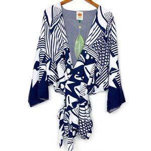 Farm Rio Cowrie Shell Star Reversible Kimono NWT